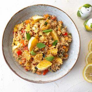 Tabouleh mit Gemüse, Orangen und Minze