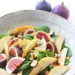 Birnensalat mit Spinat und Feigen