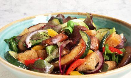 Panzanella mit Ofengemüse und Pilzen